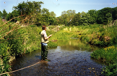 The Late Jon Stevens fishing the upper Cod Beck.Reproduced with the kind consent of Neil Perry.